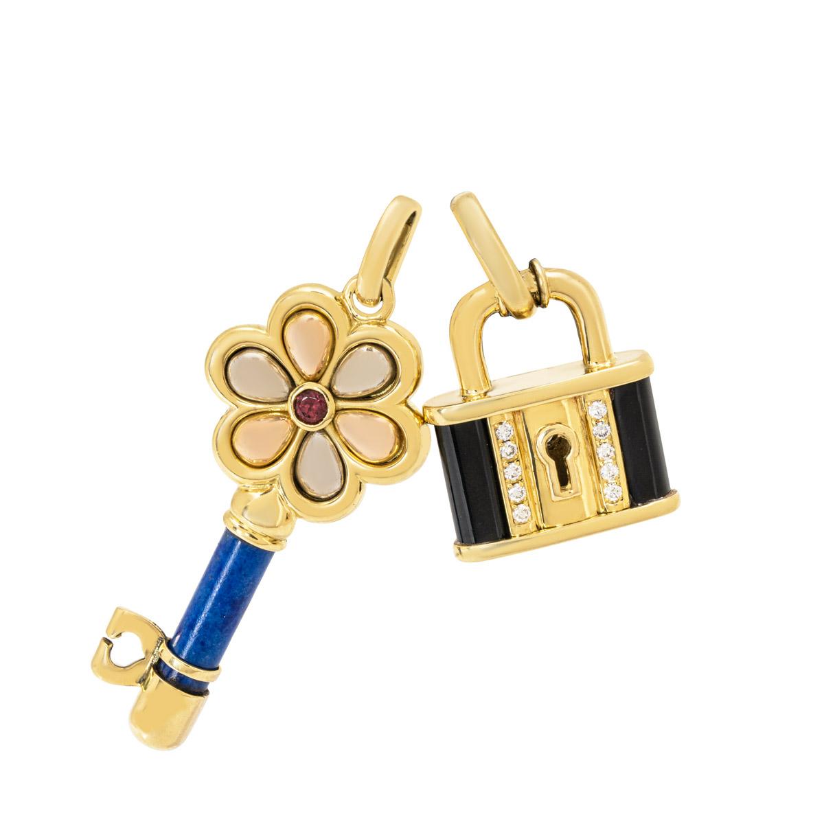 Yellow Gold Lock and Key Pendant